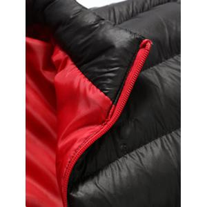 Stand Collar Contrast Zipper Quilted Jacket -