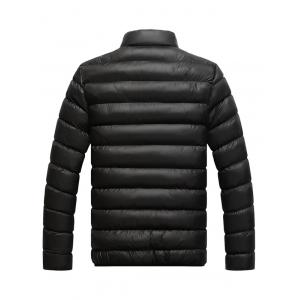 Stand Collar Contrast Zipper Quilted Jacket - BLACK 4XL