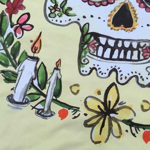 Festival Halloween Flower Candle Skull Print Polyster Round Beach Throw - LIGHT YELLOW ONE SIZE