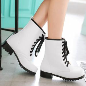 Tie  Up Round Toe Flat Ankle Boots - WHITE 39