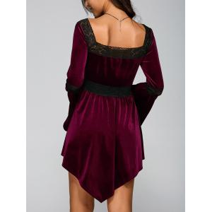Lace Spliced Lace-Up Handkerchief Dress - WINE RED XL