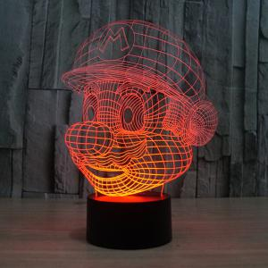 3D Color Changing Visual Touching Ombre LED Night Light - Colorful