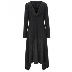 High Low Hooded Dress with Long Sleeves - BLACK GREY XL