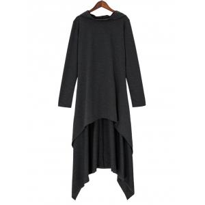 High Low Hooded Dress with Long Sleeves -