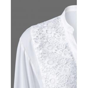 Plus Size Lace Trim Button Down Blouse -