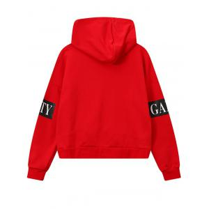 High Low Side Zipper Graphic Patched Short Hoodie -