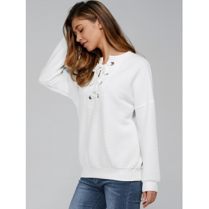 Lace-Up Ribbed Sweatshirt - WHITE M