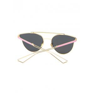 Hollow Out Leg Cat Eye Mirrored Sunglasses - PINK