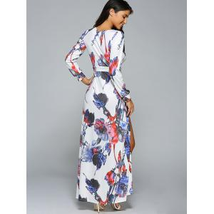 Belted Full Sleeve Floral High Slit Plunging Neck Dress - WHITE M