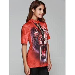 Tiger Print Front Lace Up Halloween T-Shirt -