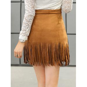 Stud Embellished Suede Fringed Skirt -