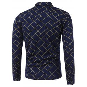 Turn-Down Collar Irregular Argyle Print Long Sleeve Shirt - YELLOW XL