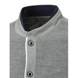 Rib Spliced Color Block Stand Collar Single-Breasted Jacket -