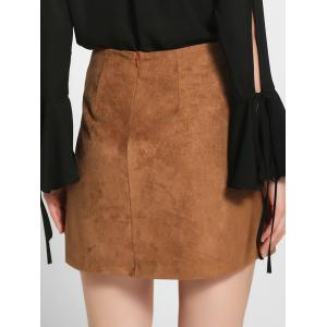 Lace-Up Faux Suede A-Line Skirt - KHAKI L