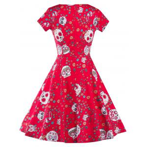 High Waist Skull Print Vintage Dress - RED 2XL