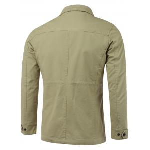 Pocket Embellished Zip-Up Lengthen Turn-Down Collar Jacket -