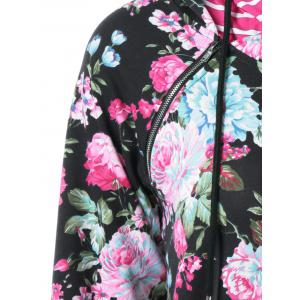 Inclined Zipper Floral Hoodie -