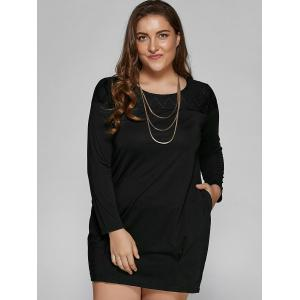 Plus Size Casual Long Sleeve Shift Dress - BLACK 4XL