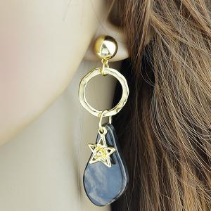 Dimple Star Ring Natural Stone Earrings - BLACK