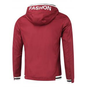 Rib Spliced Letter Fashon Hooded Zip-Up Jacket -