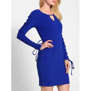 Lace Up Long Sleeve Bodycon Dress - BLUE M