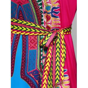 Tied Belt African Style Tribal Maxi Dress -