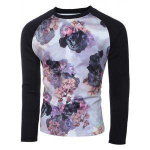 Crew Neck Spliced Sleeve Floral Print T-Shirt -