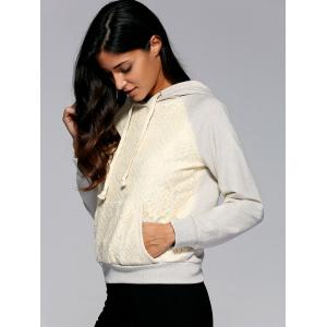 Lace Patchwork Drawstring Hoodie -