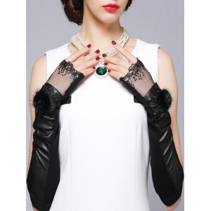 Faux Fur Ball Sequins and Lace Embellished Leather Arm Warmers -