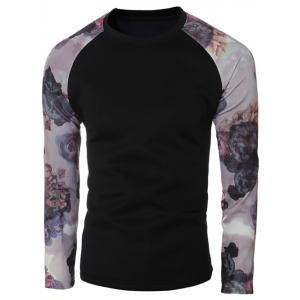 Floral Print Spliced Sleeve Crew Neck T-Shirt - BLACK 2XL