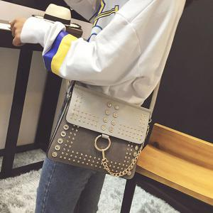 Covered Closure Dome Stud Metal Ring Crossbody Bag -