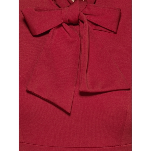 Back Slit Bow Tie Bodycon Dress - DEEP RED 2XL