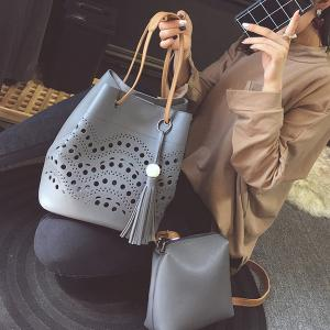 Color Spliced Hollow Out Tassels Tote Bag - GRAY