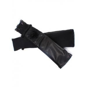 Faux Fur Edge Rose Applique Lace Embellished Leather Arm Warmers -