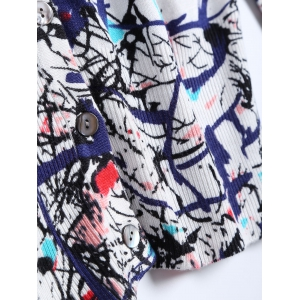 Buttoned Printed Knitted Cardigan -