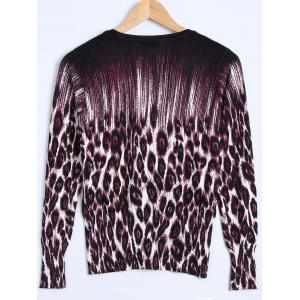 Leopard Printed Knitted Cardigan -