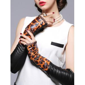 Lace Edge Leopard Pattern Leather Arm Warmers -