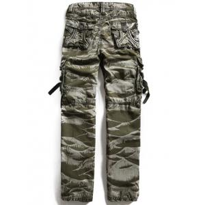 Loose Fitting Zipper Fly Camo Cargo Pants - ARMY GREEN 36