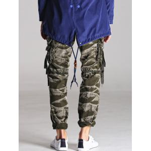 Loose Fitting Zipper Fly Camo Cargo Pants -
