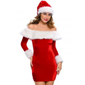 Christmas Faux Fur Fitted Velvet Dress With Hat - RED L