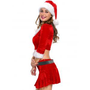Christmas Faux Fur Crop Top and Short Skirt and Hat Sets -