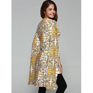 Asymmetric Tribal Print Cape Coat -