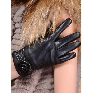 Faux Leather Flower Shape and Sewing Thread Embellished Thicken Short Gloves -