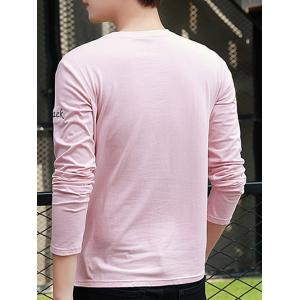 Crew Neck Long Sleeve Question Mark T Shirt - PINK M