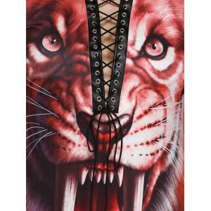 Tiger Print Front Lace Up Halloween T-Shirt - ORANGE RED XL