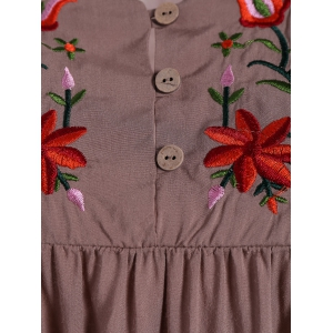 Embroidered Plus Size Casual Flower Dress - DUN 2XL