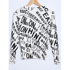 Letter Print Knitted Cardigan -