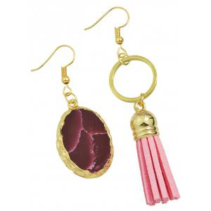Pair of Faux Stone Asymmetric Earrings - GOLDEN