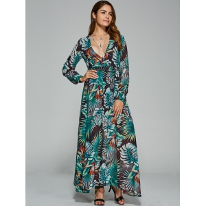 Belted  Surplice Printed Maxi Dress -