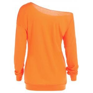One Shoulder Pumpkin Print Halloween Sweatshirt -